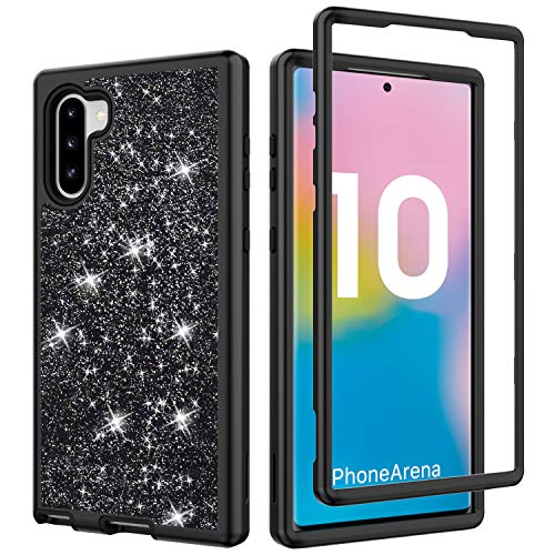 Co-Goldguard Case for Samsung Galaxy Note 10, Sparkle Bling Cases High Impact Bumper Hybrid Cover Shockproof Shell for Girls Slim Fit for Samsung Galaxy Note 10 5G, Black