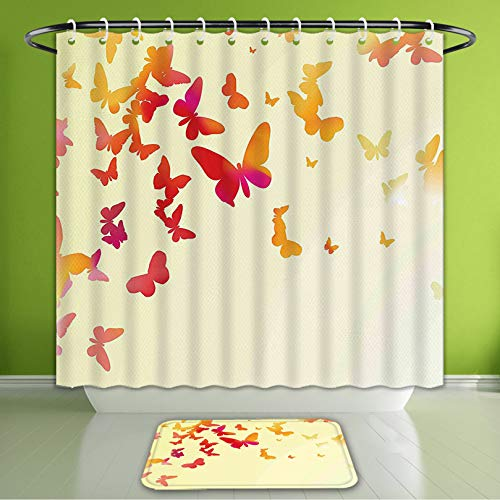 (Waterproof Shower Curtain and Bath Rug Set Spring Silhouette of Butterflies Flying Inspirational Spiritual Wings Summer Ar Bath Curtain and Doormat Suit for Bathroom Extra Long Size 72