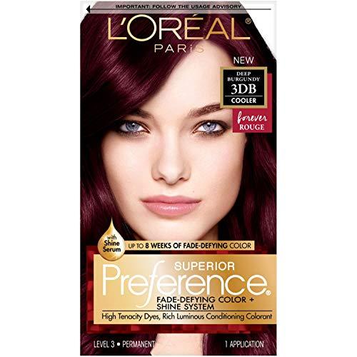 L'Oréal Paris Superior Preference Fade-Defying + Shine Permanent Hair Color, 3DB Deep Burgundy, 1 kit Hair Dye