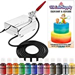 U.S. Cake Supply - Complete Cake Decorating Airbrush Kit with a Full Selection of 12 Vivid Airbrush Food Colors - Decorate Cakes, Cupcakes, Cookies & Desserts 10 Contains Everything You Need: Our kit contains everything you need to start creating edible masterpieces using your own personal touch! Kit includes a professional precision airbrush, air compressor with 3 air flow settings, 12 eye-catching vibrant U.S. Cake Supply airbrush food colors, detailed user guide manual with airbrushing tips and design techniques. To be used and enjoyed by everyone: It can be enjoyed by everyone from kids to adults and beginners to experts! Simply add a few drops of color to your airbrush, power up the compressor, pull the trigger and go! It's just that easy to start your own customized creations! Airbrushing is the Perfect Blend of Cake and Art: Unleash your imagination to create your own amazing designs on dozens of colorful cakes, cupcakes, cookies and desserts. Blend and shade colors, write script and add accents, use stencils to add detail, color fondant and other elements, plus so much more!
