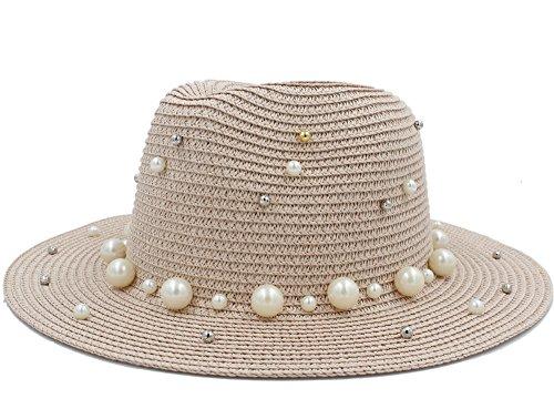 Brim Homburg - QINMEI Women Men Summer Toquilla Husk with Pearl Sun Hat for Refined Lady Wide Brim Homburg Fedora Sunbonnet Beach Sunhat (Color : Pink, Size : 56-58CM)