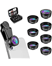 Criacr (New Version) 7 in 1 Phone Camera Lens, 210 °Fisheye Lens + 120 °Wide Angle + 25X Macro + 2X Telephoto + Star Lens + CPL + 6 Kaleidoscope Compatible with Phone/Samsung/Google Pixel etc