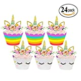 Unicorn Cupcake Toppers Kids Party and Wrappers Double Sided Cake for Birthday Decorations Set of 24
