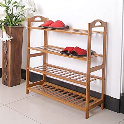 Wowcool Concise 12 Batten 4 Tiers Free Standing Bamboo Shoe Rack With  Handles Closets And