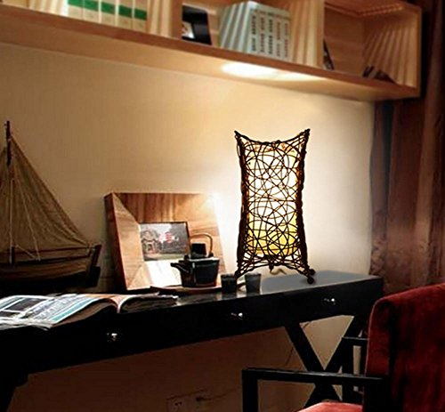 DGS Countryside Garden Rattan Table Lamp Living Room Bedroom Bedside Lamp Study Simple Retro Lighting