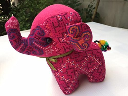 HAPPYCRAFTS98,Elephant Handmade fabric pendant souvenir collectible gift, Elephant Doll Soft Stuffed Plush Crib Hanging Hand Rattles - Queen Sunglasses Street