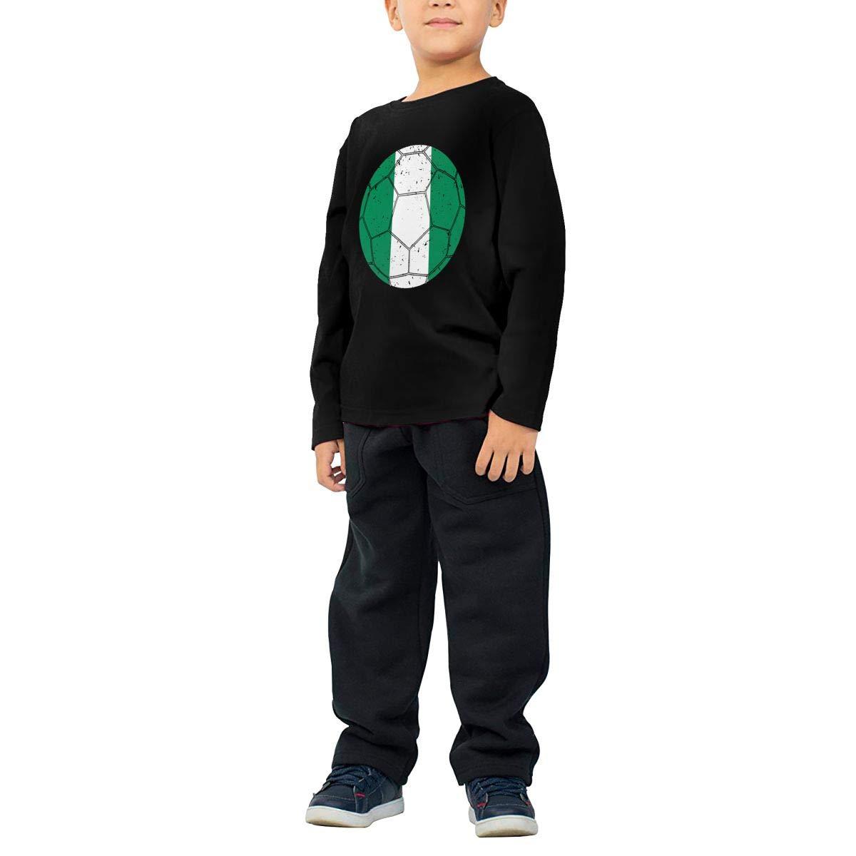 Nigerian Flag Soccer Football11 Kids Crewneck Long Sleeve Shirt Tee Jersey for Toddlers