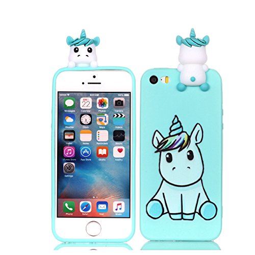 iPhone 5/5s/SE Case,DAMONDY 3D Cartoon Animals Cute Pattern Soft Gel Silicone Slim Design Rubber Thin Protective Cover Phone Case for iPhone SE/iPhone 5S/iPhone 5-cute unicorn