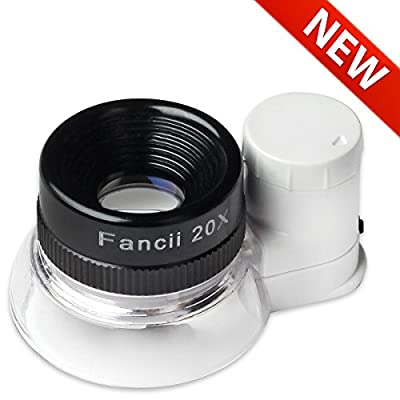 Fancii LED Illuminated 20X Jewelers Loupe Magnifier - Premium Glass Magnifying Eye Loop Stand Made With Aircraft Grade Aluminum - Best for Jewelry, Diamonds, Coins, Miniatures, Engravings, Markings