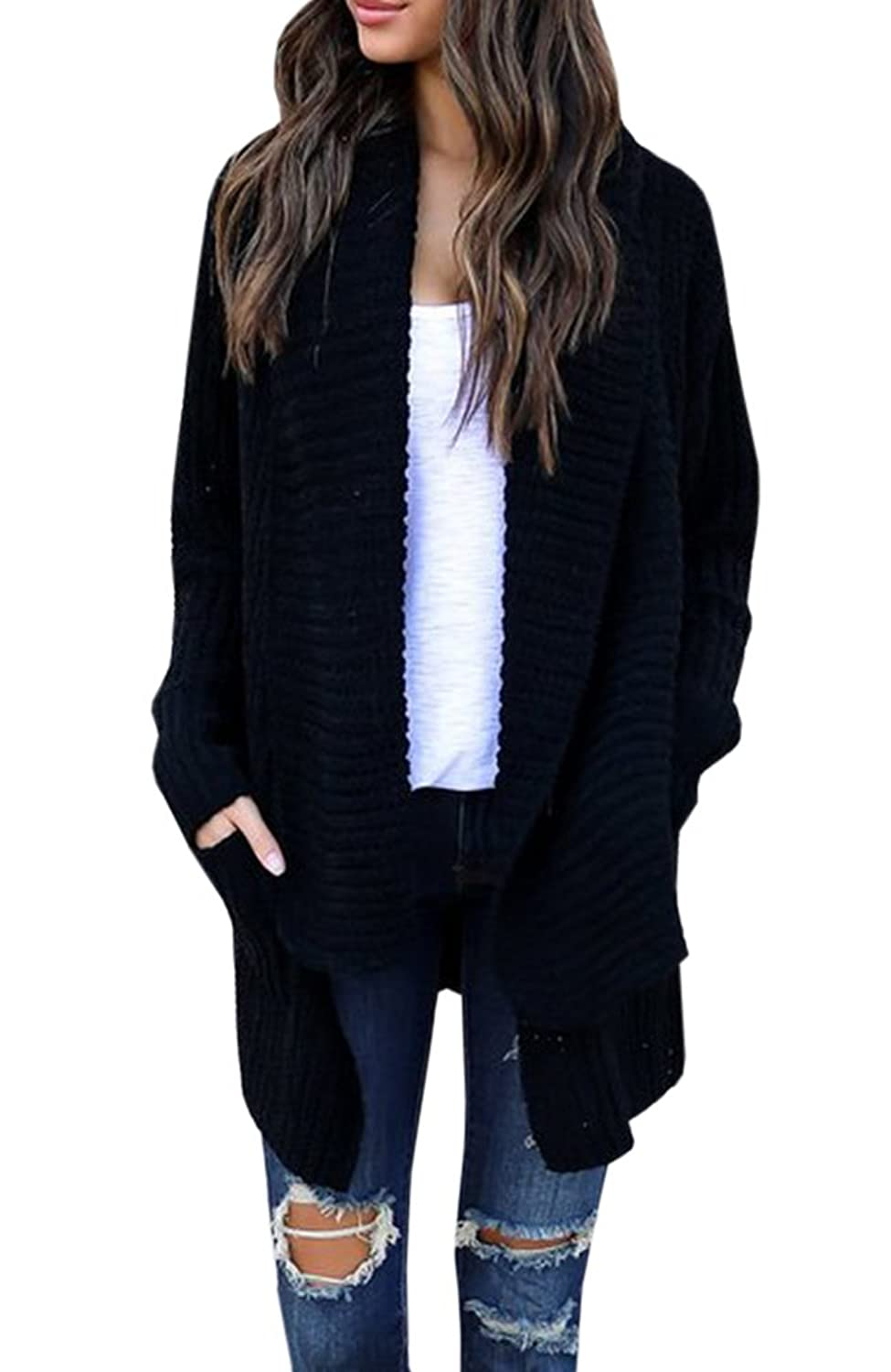 Features  Long sleeve open draped front cardigans for women 1bd595d86