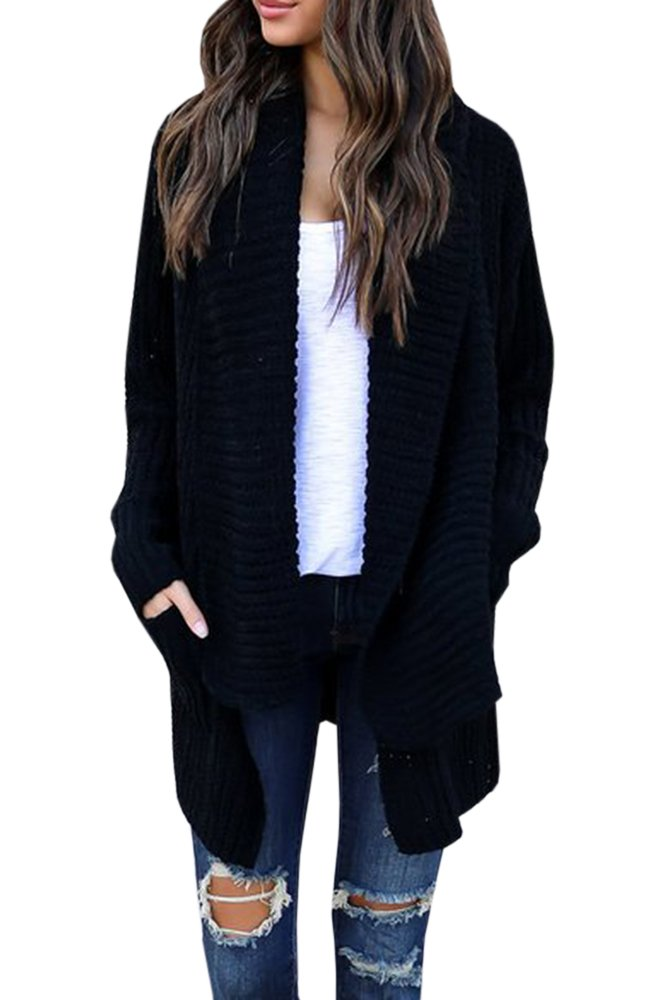 Imily Bela Women's Oversized Long Sleeve Shawl Collared Open Front Sweater Chunky Cardigan (Small, Black)