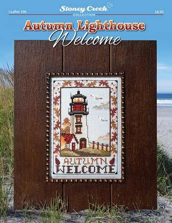 Autumn Lighthouse Welcome (Leaflet 396) Cross Stitch Chart and Free Embellishment