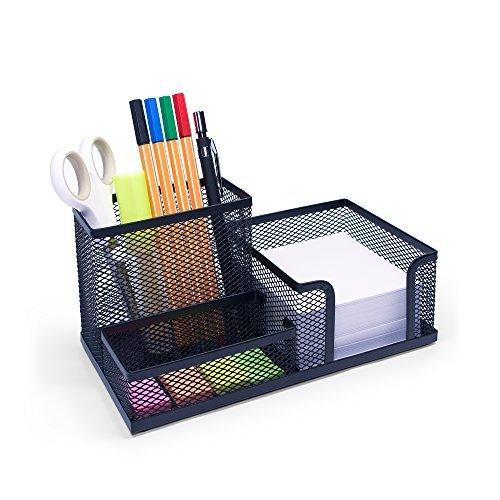 Sturdy Office Desk Organizer   Stylish Designer Storage Caddy Set   Robust  Black Mesh Sorter   Organizers And Accessories For Kids U0026 For Woman   Hard  Luxury ...