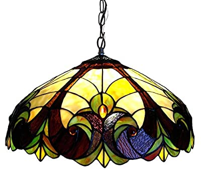 """Chloe Lighting CH18780VI18-DH2 Tiffany-Style Victorian 2-Light Ceiling Pendant Fixture with 18"""" Shade"""