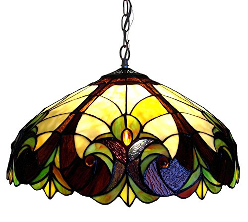 Chloe Lighting CH18780VI18-DH2 Tiffany-Style Victorian 2-Light Ceiling Pendant Fixture with 18