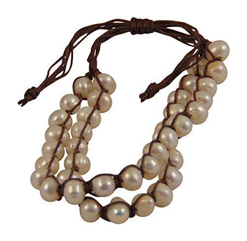 Double Faux Pearl Bracelet (Double Strand Adjustable Simulated Pearl Bracelet (Cream))