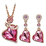 Qianse Rose Lover Pendant Necklace Dangle Earrings Jewelry Set Made with Swarovski Crystal