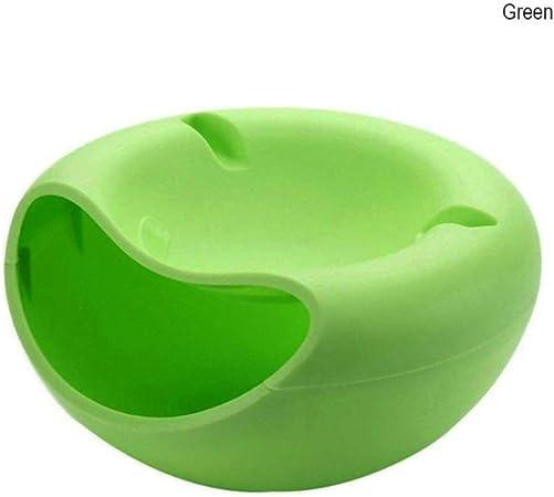 DSFred Forma Creativa Lazy Snack Bowl de plástico de Doble Capa Caja de Almacenamiento de Snack Bowl Bowl Plato de Fruta Bowl con Soporte para teléfono para TV, Verde: Amazon.es: Hogar