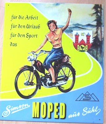 BLECHSCHILD 33 x 39 cm SIMSON SUHL Moped SR 1 SR 2
