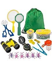 FORMIZON Outdoor Explorer Set, 17-delig Outdoor Exploratiespeelgoed voor Kinderen, Educatief Speelgoed, Avonturenset met Verrekijker, Kompas, Insectentang, Cadeau voor Kamperen, Pretend Spel