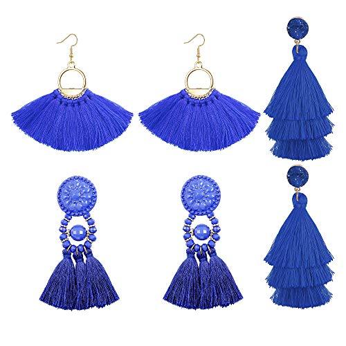 LOLIAS 3 Pairs Long Thread Tassel Earrings for Women Girls Fashion Dangle Drop Earrings,Blue