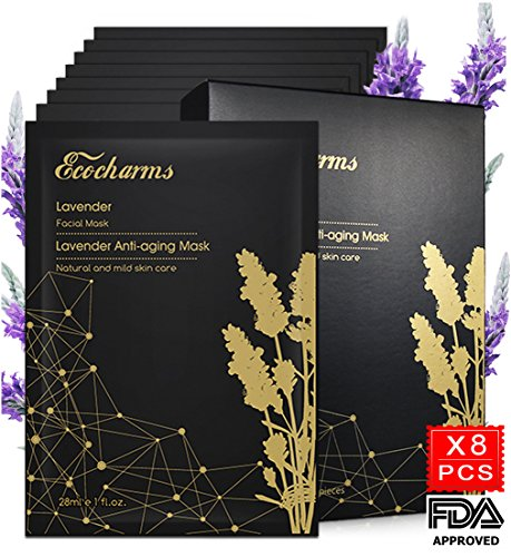 [Sensitive Skin Solution] Ecocharms 8PCS Lavender Facial Mask Anti Aging & Hydrating Face Mask Reduce Acne with Hyaluronic Acid for Men and Women