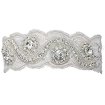 Fashion Plaza Wedding Accessories Bridal Garter White Lace with Rhinestone A-G001