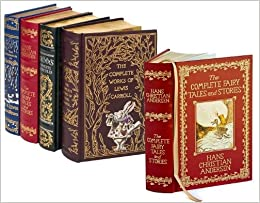4 volume leatherbound fantasy collection the chronicles of narnia grimms complete fairy tales hans christian anderson complete tales and stories and the complete works of lewis carroll