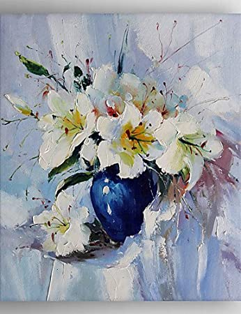 Oil Painting Modern Impression White Flower Painting Hand Painted ...