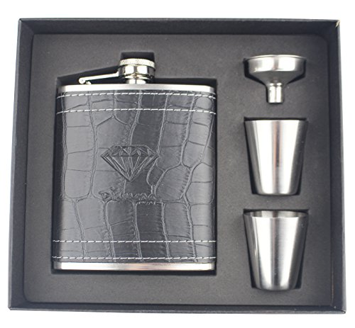 Double Y Diamond Stainless Steel Leather Hip Flask Set 7 Oz with 2 Cups 1 Funnel for Storing Whiskey/Alcohol,Gift Box