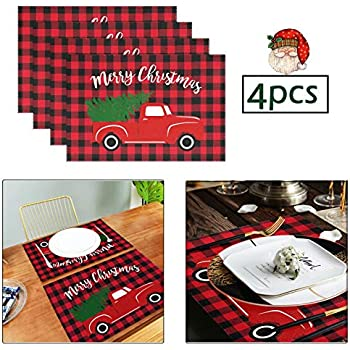 Wamika Merry Christmas Tree Red Truck Placemats Set of 4 Table Mat Winter Snowman Buffalo Plaid Place Mat Placemat Non Slip Stain Heat Resistant 12
