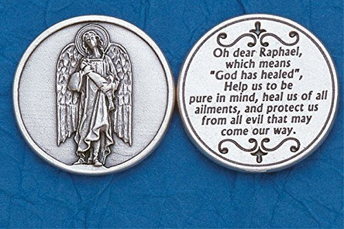 Saint Raphael Engraved Pocket Prayer Token