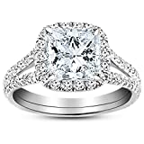 Product review for 2.2 Carat 14K White Gold Split Shank GIA Certified Princess Cut Diamond Engagement Ring (1.7 Ct K Color VS2 Clarity Center Stone)