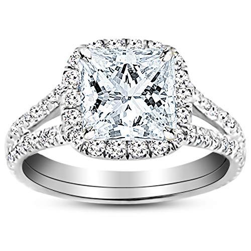 1.5 Carat GIA Certified 14K White Gold Split Shank Princess Cut Diamond Engagement Ring (1 Ct J-K Color I1-I2 Clarity Center)