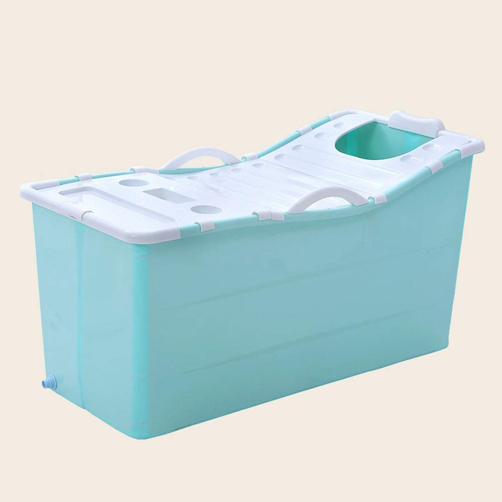Green With cover A - Z ZA Adult Folding Bathtub, Plastic Bath Barrel, Household Large Portable Tub, Plastic Tub, Optional with or Without Cover,2 colors (color   Pink, Edition   No cover)