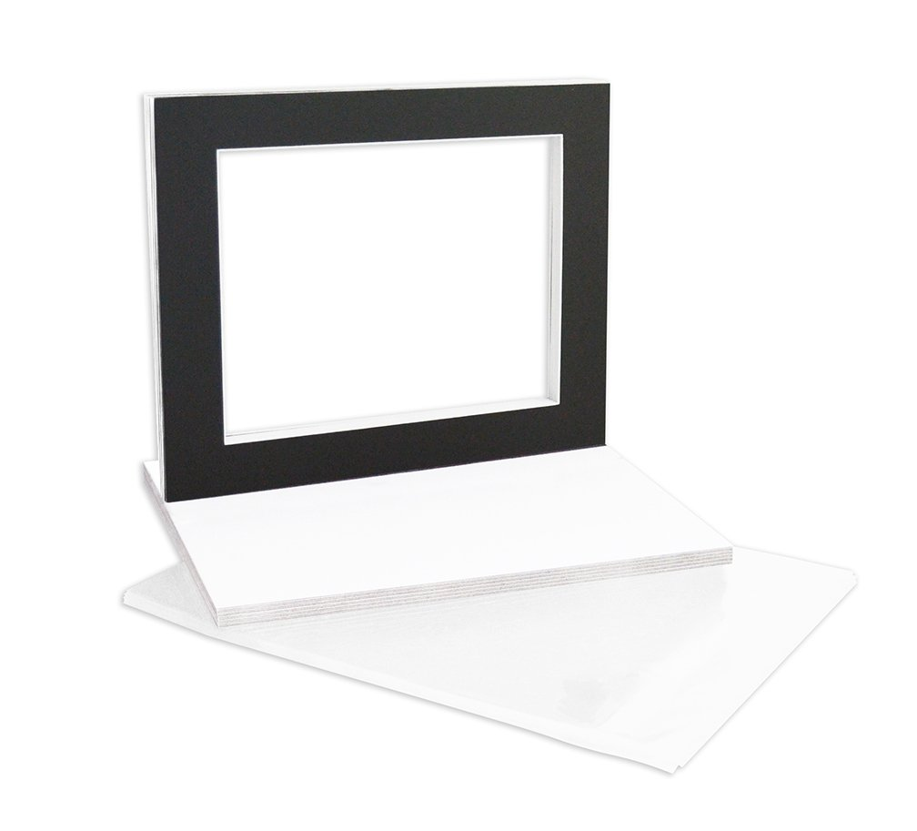 Golden State Art, Complete Pack of 10, Black Pre-cut 11x14 Photo Mat for 8.5x11 Document with White Core Matte Set. Includes 10 Acid Free Bevel Cut Mattes & 10 Backing Backers Board & 10 Clear Bags
