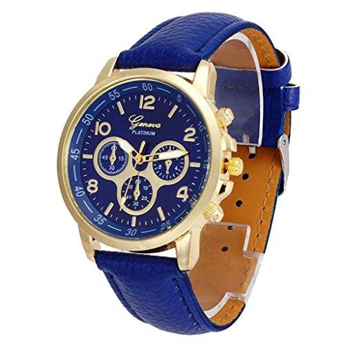 Unisex Casual Geneva Faux Leather Quartz Analog Wrist Watch Blue - 1