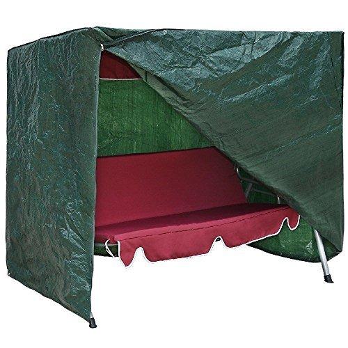 Gardenmile® Heavy Duty Green Weatherproof Garden Swing Seat Hammock Furniture Covers UV Protected Reinforced Waterproof 3 Seater Swinging Garden Hammock Cover with Zips