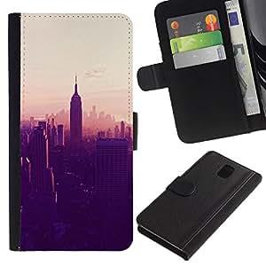 A-type (State Building New York View) Colorida Impresión Funda Cuero Monedero Caja Bolsa Cubierta Caja Piel Card Slots Para Samsung Galaxy Note 3 III