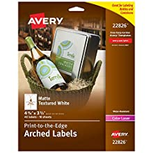 """Avery Arched Wine Labels for Laser Printers Only, Water Resistant, 4.75"""" x 3.5"""", 40 White Labels (22826)"""