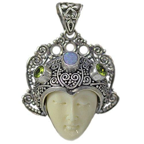 Bone Face Pendant - Peridot, Opal and Carved Bone Face Pendant