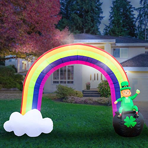 Holidayana 8-Foot Inflatable St Patricks Day Leprechaun in Pot of Gold at The End of The Rainbow Decoration, Includes Built-in Bulbs, Tie-Down Points, and Powerful Built in Fan