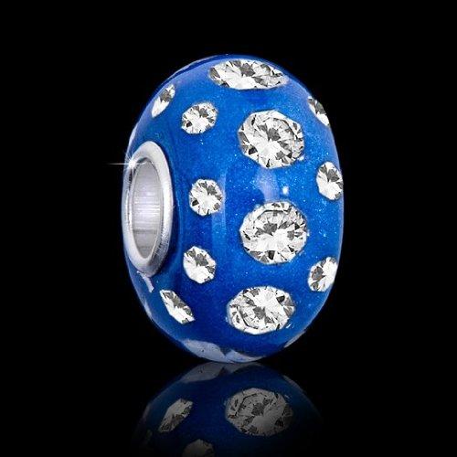 MATERIA beads perle bleu appplikationen avec strass-perle ronde en argent 925/1000 bleu résine element #9