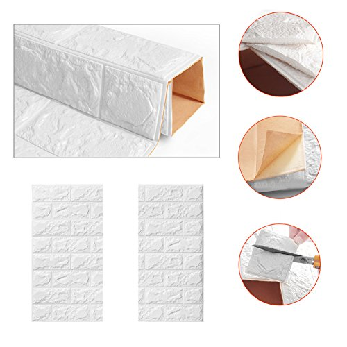 10 PCS 3D Brick Wall Stickers Self-Adhesive Panel Decal PE Wallpaper,Peel and Stick Wall Panels for TV Walls,Living Room Bedroom Sofa Background Wall Decor by Yokstore (Image #7)
