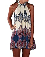 Bluetime Women's Casual Sleeveless Halter Neck Boho Print Short Dress Sundress