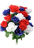 Admired By Nature Artificial Blossoms Rose Flower Bush-24 Stems for Home Office, Event & Restaurant Decoration, Red, White & Blue