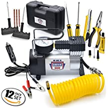 12V DC Best Air Compressor Tire Inflator with Gauge – 150 PSI Portable Air Pump for Car Tires, Trucks & Inflatables – DOUBLE BONUS Tire Puncture Repair Kit & Carry Case – by We Love to Drive