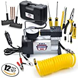 mobile air compressor - 12V DC Best Air Compressor Tire Inflator with Gauge – 150 PSI Portable Air Pump for Car Tires, Trucks & Inflatables – DOUBLE BONUS Tire Puncture Repair Kit & Carry Case – by We Love to Drive