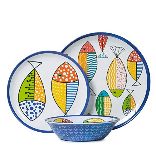 Plates and Bowls Set with Fish Designs, 12 pcs Melamine Dinnerware Set Melamine Plates Great for Outdoor or Casual Meals, Unbreakable and Dishwasher Safe,Multicolor ...