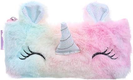 Macabolo Cartoon Unicornio de peluche monedero escolar estuche monedero bolsa de almacenamiento llaves auriculares organizador bolsillo para alumnos, color rosa 20.5 * 9.7cm: Amazon.es: Oficina y papelería